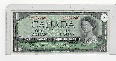 **1954**Canada $1 Note, Beattie/Coyne # K/A 2597249  BC-29b  Devil's Face