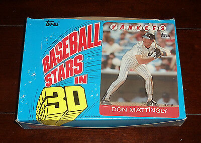 "1986 Topps Baseball ""3-D Superstars"" Unopened Full Wax Box 24 Packs"