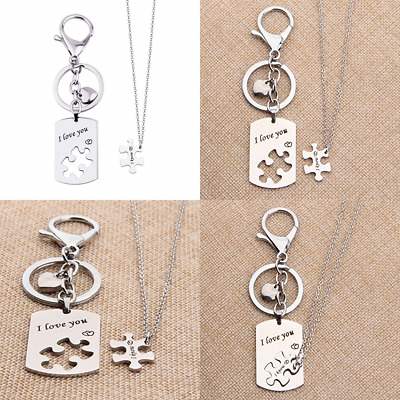 I Love You Know Heart Puzzle Matching Necklace Keychain Set Inspired By Star War