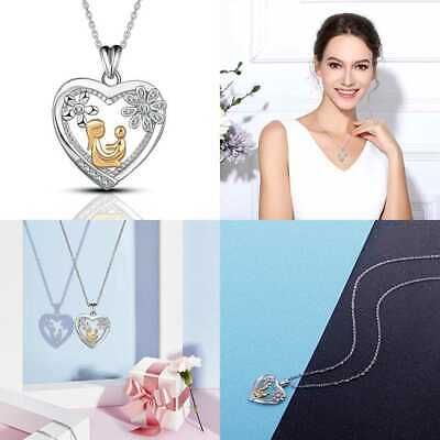 925 STERLING SILVER Mom & Daughter CZ Love Heart Pendant Necklace AEONSLVOE Jewe