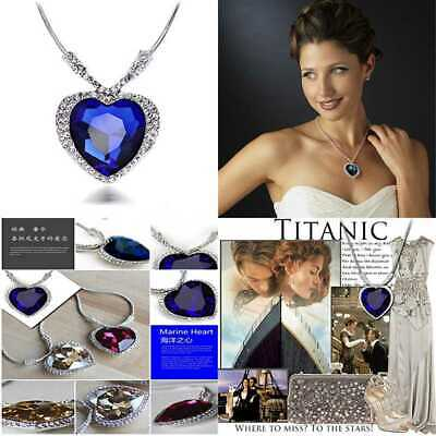 Huge Titanic Heart Of The Ocean Sapphire BLUE CZ Crystal Necklace Pendant