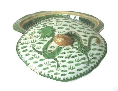 Antique 19th Century Chinese Export Vegetable Bowl w Cover Imperial Dragons