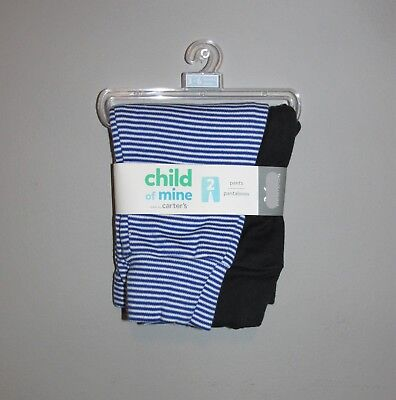 Carters Boys 2 PACK Cotton Pants (Size 0-3 Months) BRAND NEW W TAGS