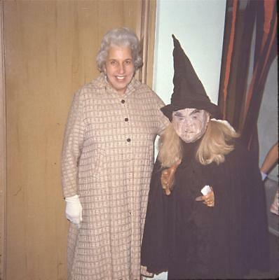 Woman & Scary Ugly Halloween Witch Vintage 1967 Slide Photo