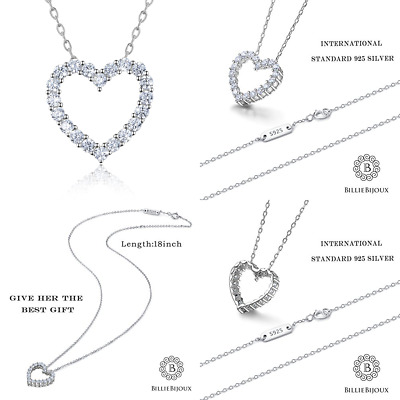 """89cdeb6640c457 STERLING SILVER Diamond Heart Necklace Billie Bijoux Platinum Plated """"You  Are My"""