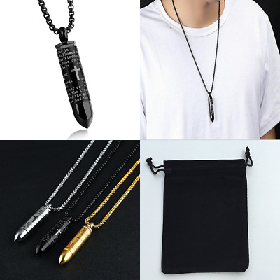 Mens Cross Pendant Necklace For Men BLACK GOLD English Urn Lord's Prayer Stainle