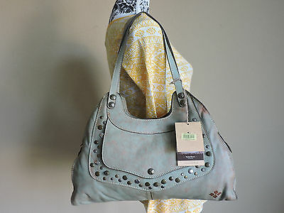 Patrica Nash Vintage Armeno Light Green Washed Leather Studded Shoulder Bag NWT