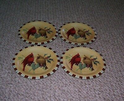 "4 Lenox Winter Greetings Everyday Cardinal 8 1/2"" Holiday Salad Dessert Plates"