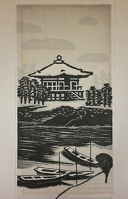 "Vintage GIHACHIRO OKUYAMA (1907-1981) Japanese Woodblock ""Godaido Shrine"""