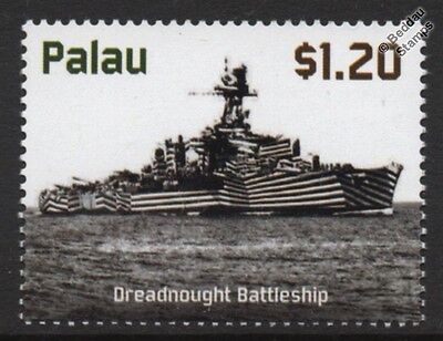 WWI 1917 British Dreadnought Battleship (Dazzle Camouflage Livery) Warship Stamp