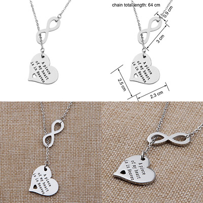 A PC Of My Heart Lives In Heaven Hand Stamped Memorial Necklace Bracelet W Angel