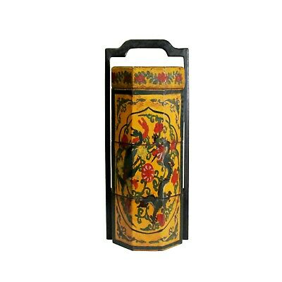 Chinese Yellow Lacquer Color Floral Graphic Painting Octagon Stack Box ws154