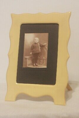 Antique Ornate 1920's Celluloid Plastic Cream Yellow Color Picture Photo Frame