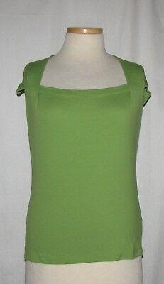 32c3e5f99122c6 Lafayette 148 New York Lime Green Stretch Cotton Cap Sleeve 'Giada' Top ...