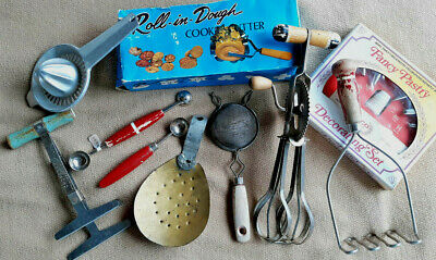 8 pc Asst VINTAGE Kitchen Utensils + 2 Boxed Baking Items (for cookies & pastry)