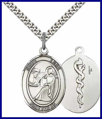 """STERLING SILVER St. Luke The Apostle Pendant W 24"""" Stainless Steel Heavy Curb Ch"""