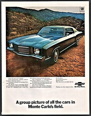1971 CHEVROLET MONTE CARLO  Dark Blue Hardtop Car Photo AD