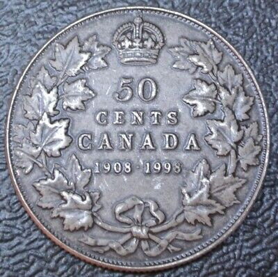 1908-1998 CANADA 50 CENTS - .925 SILVER PROOF - Antique Finish - 90th Anniv. RCM