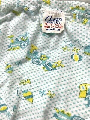 Vintage Carters Cotton Fitted Baby Crib Sheet Blue Aqua Yellow Animal Train