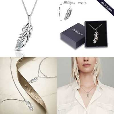 AEONSLOVE 925 STERLING SILVER GOLD Cupid's Feather Pendant Necklace 18'' Gifts F