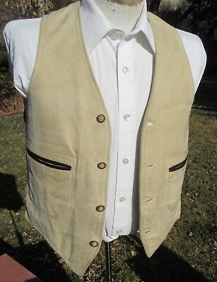 """Vintage SUEDE LEATHER """"Californian"""" Vest - Small (38) Classic Western FREE SHIP"""