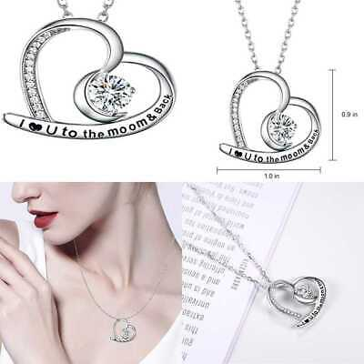 befc0a7734 Jewelry I Love You To The Moon & Back Heart STERLING SILVER Necklace For  Wome He