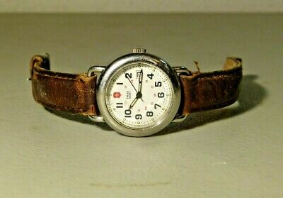 Womens Silver Victorinox Swiss Army 24 Hr Classic Field Watch Leather Band 25530