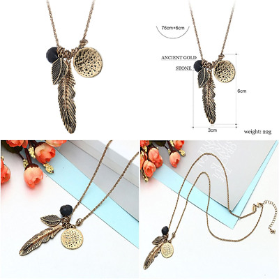Ancient GOLD & SILVER Feather Leaf Bead More Pendant Necklace FREE SHIPPING