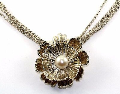 JOSEPH ESPOSITO ESPO SIG FLORAL SNAP FLOWER w/PEARL NECKLACE 925 STERLING NC 596