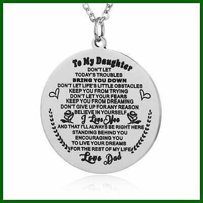 To My Daughter Gift Ideas From Dad & Mom Love You Round Pendant Necklace Stainle