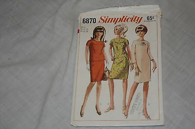 Vintage Simplicity Sewing Pattern #6870 Size 14 Misses One or Two-Piece Dress