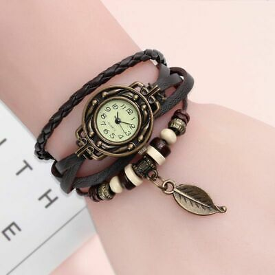 Women Watch Bracelet Wristwatch Leather Vintage Dress Genuine High Quality