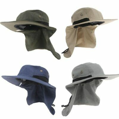 5608c69c0a2 Neck Flap Boonie Hat Fishing Hiking Safari Outdoor Sun Brim Bucket Bush Cap  New