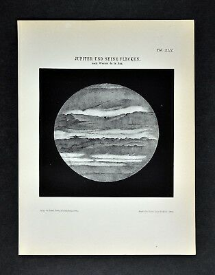 1894 Muller Celestial Map - Jupiter with its Red Spot  Planet Print Solar System