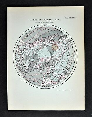 1894 Muller North Pole Map Showing Isothermal Lines Winter Arctic Ocean World