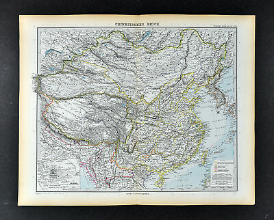 1892 Stieler Map China Korea Tibet Hong Kong Taiwan Nepal Mongolia Japan Hainan