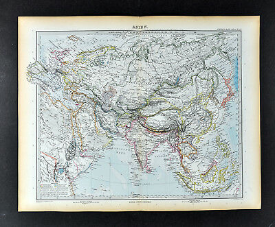 1892 Stieler Map Asia China Japan Korea India Arabia Tibet Nepal Philippines