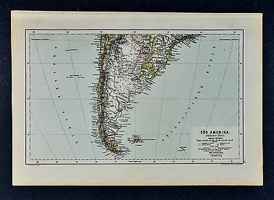 c1885 Hartleben Map Argentina Chile Chili Uruguay Paraguay Brazil South America