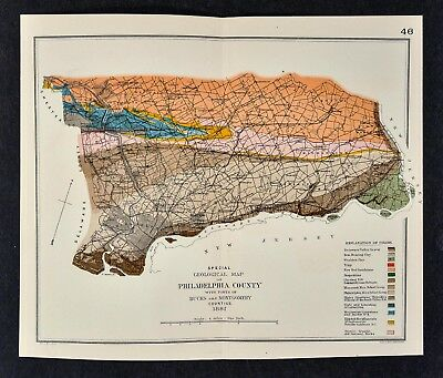1881 Geological Map Philadelphia County Pennsylvania by Lesley Geology Survey PA