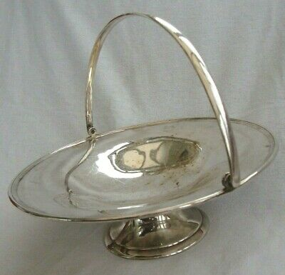Antique English Silver Plated Epns Large Pedestal Cake Stand Basket Swing Hand