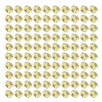 100PCs Golden Clear Crystal Rhinestone Rondelle Spacer Beads DIY 6mm saq