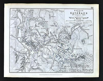 1850 Johnston Military Map - Napoleon Battle of Katzbach 1813 - Prussia Germany