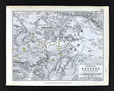 1850 Johnston Military Map - Napoleon Battle of Dresden 1813  Germany Elbe River