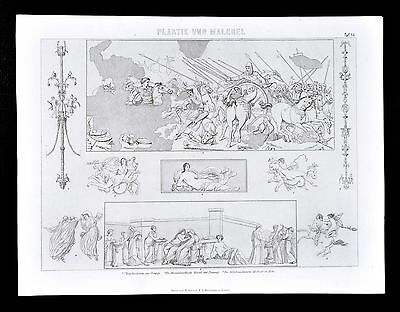 1874 Print - Ancient Roman Wall Painting & Mosaics - Pompeii Alexander the Great