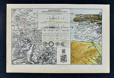 c 1885 Hartleben Map - World Geography Explanation Sheet Topography Terms etc.
