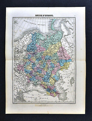 1877 Migeon Map - Russia in Europe - St. Petersburg Moscow Finland Poland Latvia