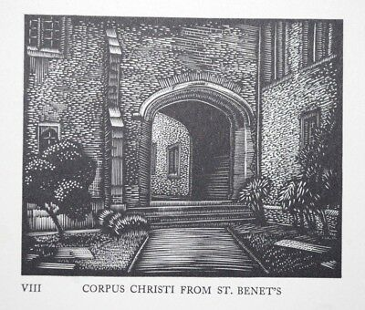 CORPUS CHRISTI LIMITED ED CAMBRIDGE COLLEGE WOODCUT PRINT / ETCHING By GREENWOOD