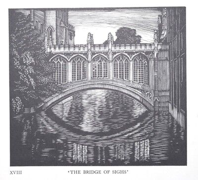 The Bridge Of Sighs -  Cambridge College Woodcut Print / Etching - Greenwood