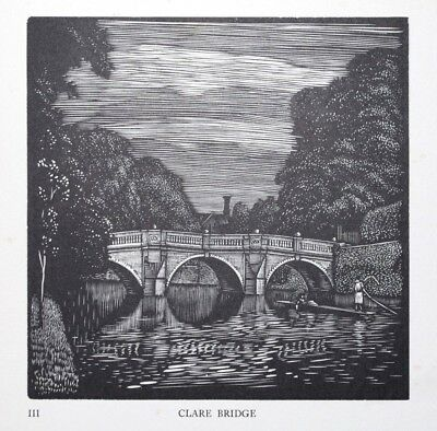 CLARE BRIDGE LIMITED EDN. CAMBRIDGE COLLEGE WOODCUT PRINT / ETCHING By GREENWOOD