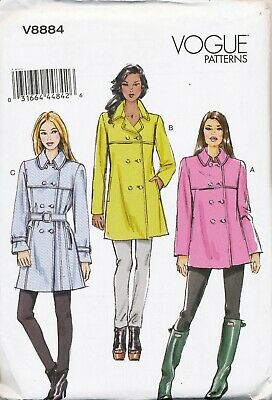 Vogue Sewing Pattern 8884 Misses Sz 6-14 Semi-Fitted Lined Coat/Jacket W/ Collar